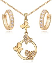 "Butterflies Set White Zirconia Austrian Crystals Pendant Necklace 18"" Huggies Earrings 18 ct Gold Plated for Women"
