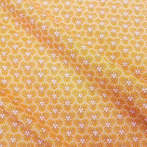 Werthers Stoffe Stoff Baumwollstoff Meterware gelb Safran Blumen Waben Blüten Sechseck geometrische Figur