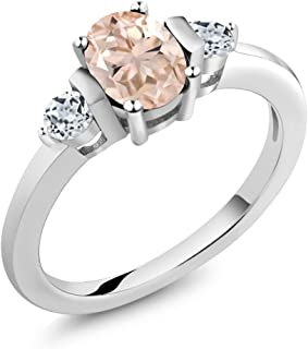 925 Sterling Silver Peach Morganite and White Topaz Women's Engagement Ring 0.93 Ct Oval (Available 5,6,7,8,9)