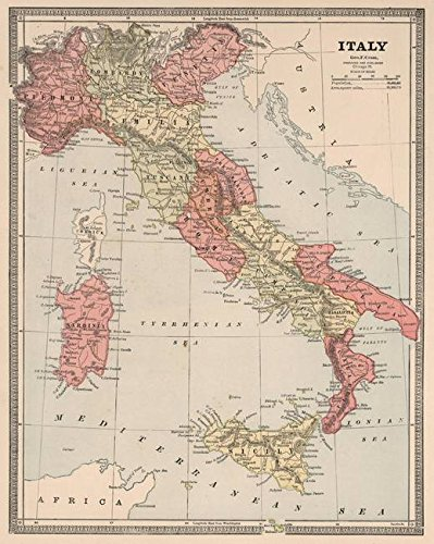 Wall Art Print Entitled Vintage Map of Italy (1883) by Alleycatshirts @Zazzle | 16 x 20