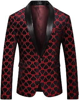 YOUTHUP Men's Casual Blazer Slim Fit Floral Wedding Party Suit Jackets Shawl Lapel Tuxedo Coat