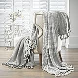 Amrapur Overseas | Monaco 100% Cotton Throw Blanket (Gray) 2 Pack