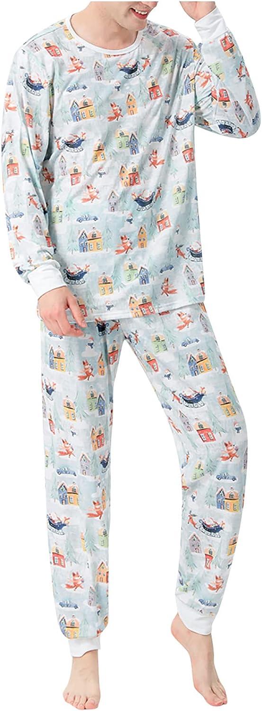 Matching Family Pajamas Sets Christmas PJ's Letter Print Top and Plaid Bottom Sleepwear Jammies