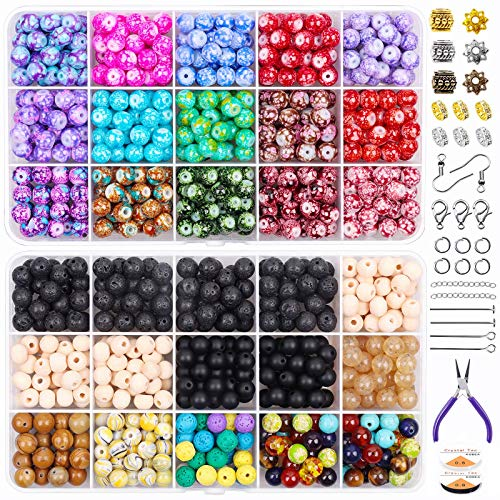 Kit de suministros para hacer joyas, 1163 piezas, cuentas de piedra de lava con cuentas de madera de chakra y anillos para saltar Alicates de cierre de langosta para pulseras, reparación de collares