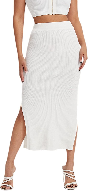 SweatyRocks Women's Casual High Waist Solid Split Side Rib Knit Midi Skirt