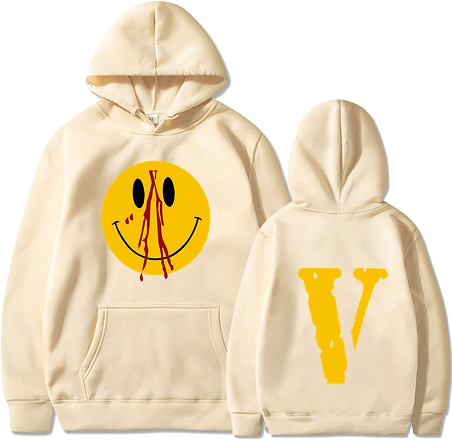 Aluo Vlone Fashion Sweatshirts for Men and Women Hip Hop Hoodies Long Sleeve Big V Letter Printed Trend Casual Loose Pullover