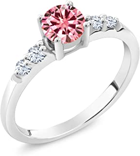 Gem Stone King 925 Sterling Silver Solitaire w/Accent Stones Engagement Ring Round Pink Created Moissanite and Created Sapphire White 0.50ct (DEW)