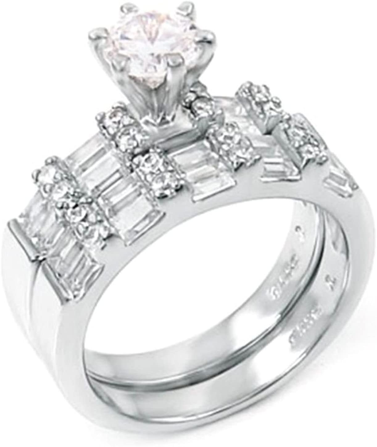 .85 Max 50% OFF ct Round and Baguette Bridal designer Set Wedding Miami Mall 925 ring S