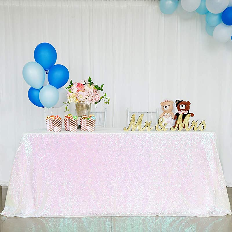 QueenDream Sequin Overlay 90x132inch White Iridescent Sequin Tablecloth Glitter Tablecloth For Christmas