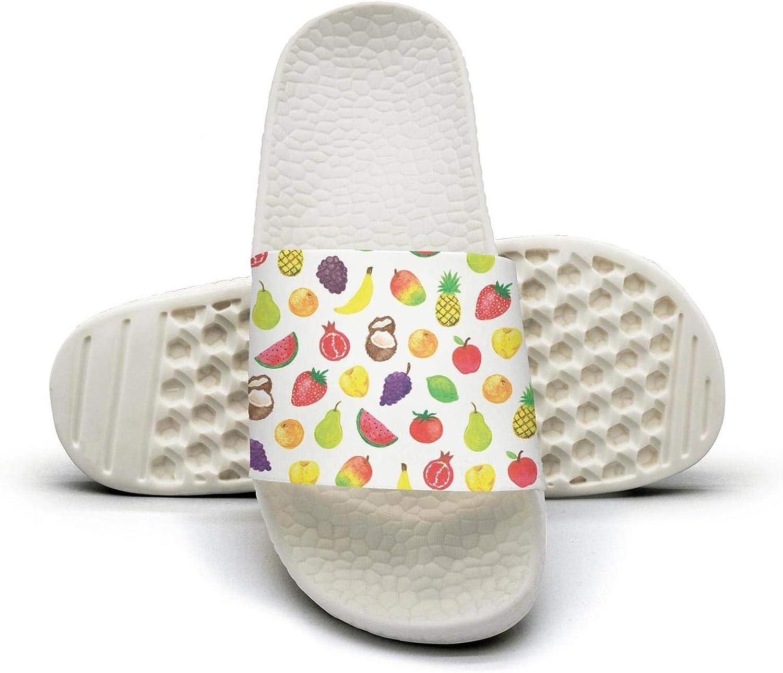 Beautiful Women colorful Fruits Slip on Beach Sandals and Anti-Slip Shower Slipper Comfort Sandals