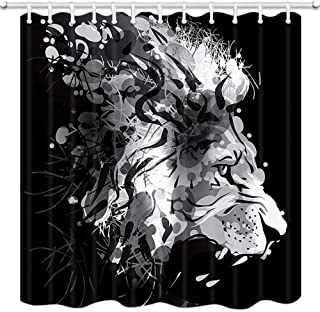 Lion Shower Curtain Safari, Psychedelic Trippy Lion Head Shower Curtains Wild Animals Forest Hunting Bath Curtain, Waterproof Fabric Bathroom Accessories 12PCS Shower Hooks, 69X70 in Black White Gray