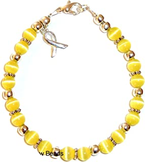Cancer Awareness Bracelet, for Showing Support or Fundraising Campaign, 18 Colors to Choose from, Adult Sized with Extension, 6mm Cat's Eye Beads. Comes Packaged.