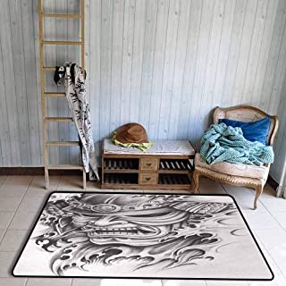 Kabuki Mask Living Room Rugs Warrior Samurai Drawing Style with Angry Expression Historical Figure Artwork Dining Room Home Bedroom W59 x L82 Black White