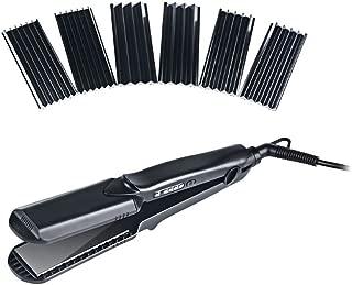 Hann 4 in 1 Hair Straightener Brush Electric Heating Ceramic Detangling Hair Comb,interchangeable plates hair straightener, flat plate, L,M,S wave plate(4 in 1 Hair Straightener, Black)
