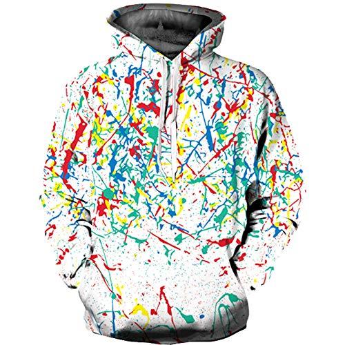 WHYSS sweatshirt met capuchon, 3D-capuchonpullover, unisex, voor heren, met capuchon, bedrukt met tas met trekkoord