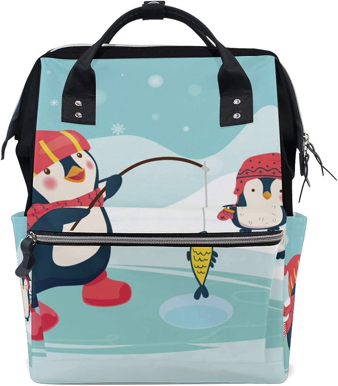 ColourLife Diaper bag Backpack Penguin Fisherman Caught Tote Bag Casual Daypack Multifunctional Nappy Bags
