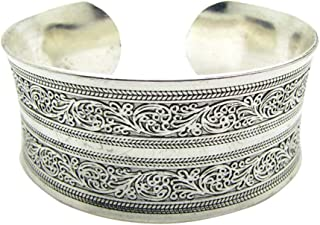 DONGmeijes Tibetan Totem Bangle Jewelry Retro Cuff Wide Bracelet Bangle for Women Girls