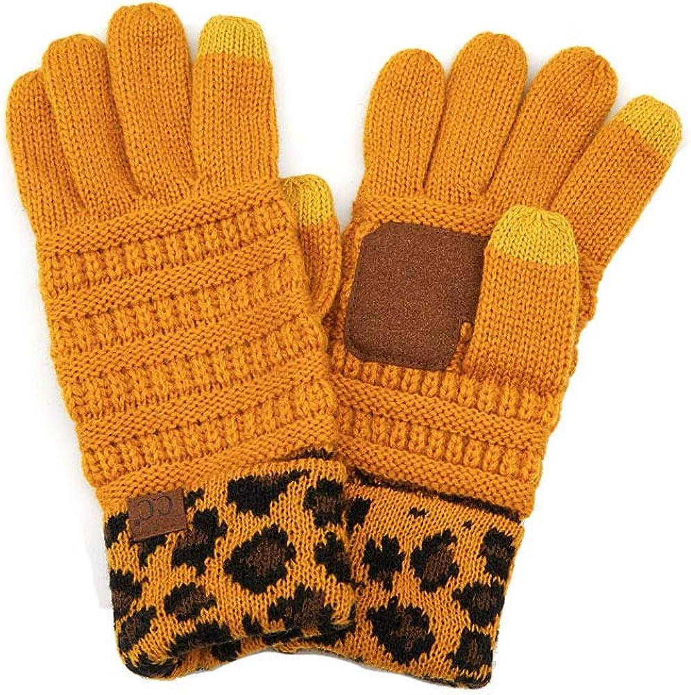 ScarvesMe Women's Winter Leopard Animal Knit Smart Touch Gloves