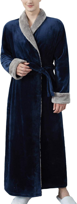 Lu's Chic Men's Long Sleeve Robe Fluffy Plush Bathrobe Fleece Spa Bath Robes Pocket Warm House
