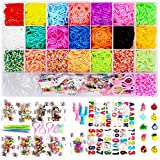 7600+ Rainbow Rubber Bands Loom Rubber Bands Set Includes: 6900 Quality Loom Rubber Bands 22 Unique Colors, 6 Crochet Hooks, 2 Y Loom , 500 Clips, 225 Beads, 30 Lovely Charms, 3Hair, 3Backpack Hooks