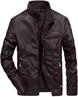 Men's Jacket Mens Casual Jackets Men's Motorcycle Thin Leather Leather Handsome Youth Baseball Slim Fit Outerwear Jacket (Color : Purple, Size : M)