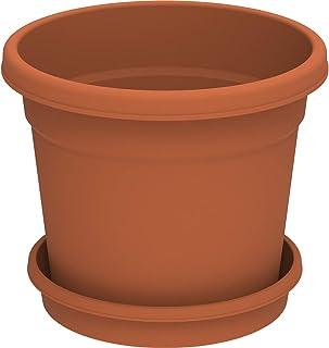 "Cosmoplast Plastic Round Flowerpot 6"" with Tray, Terracotta"