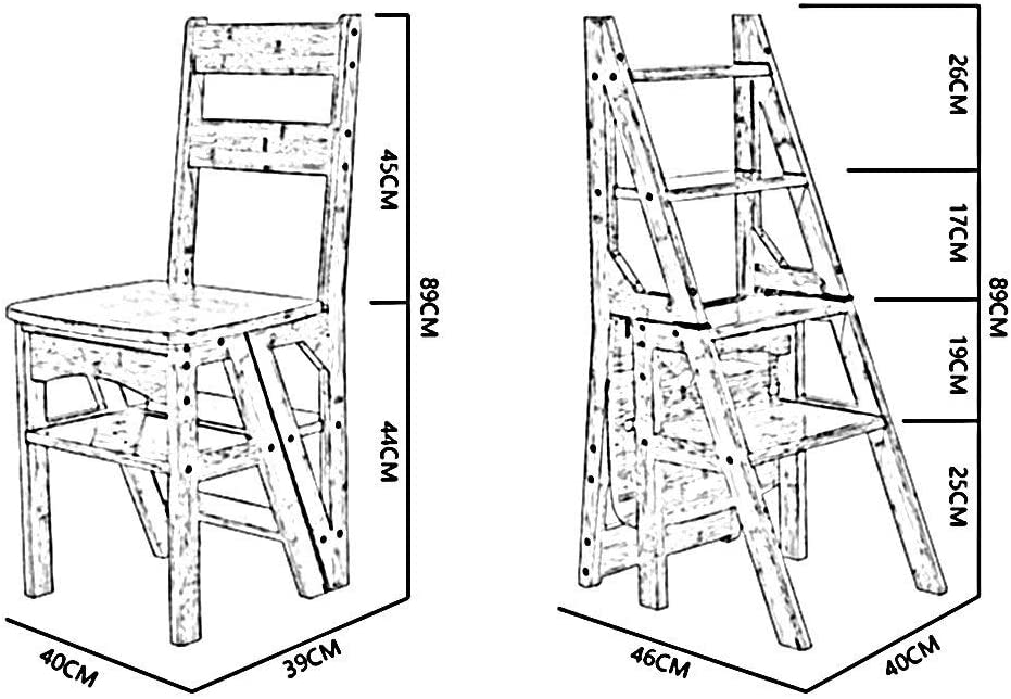 LY-Escabeau Tabouret d'échelle multi-fonction Escalier en bois massif Chaise pliante Chaise pliante à double usage 4 Escabeau Repose-pieds Charge 150 kg (Couleur : Blanc) Blanc