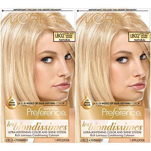 L'Oreal Paris Superior Preference Fade-Defying + Shine Permanent Hair Color, Extra Light Natural Blonde, Pack of 2, Hair Dye