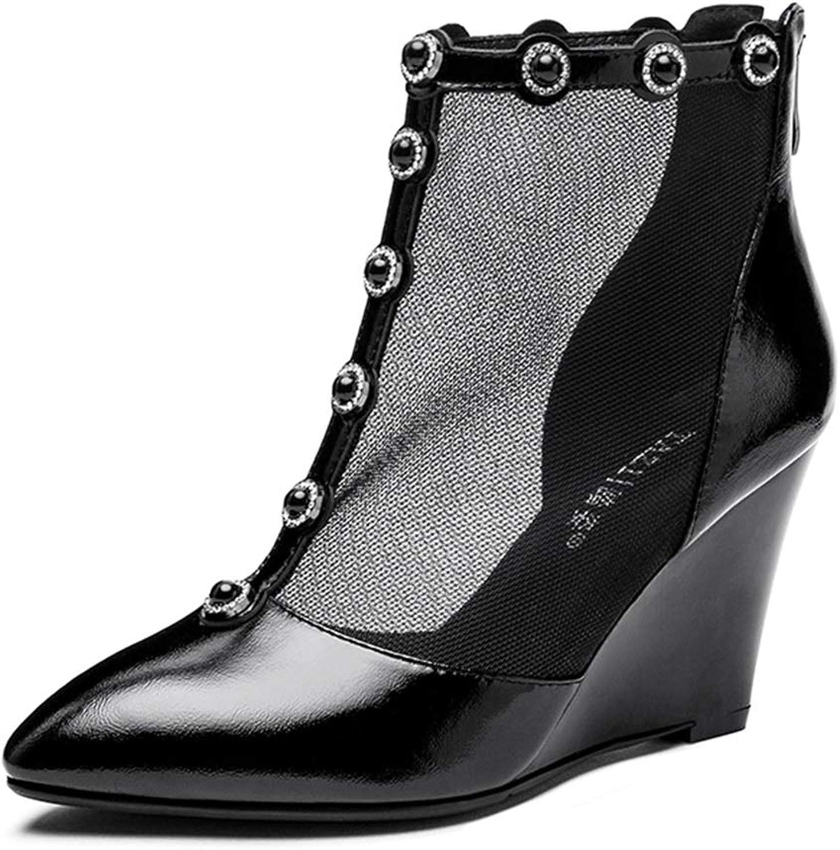 Sandaler Kvinnliga Sandaler hög klack korts Wedges 8cm 8cm 8cm Hollow Sandals pekar på skor med fyra årstider utan trött på sandaler (färg  svart, storlek  39)  generell hög kvalitet