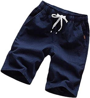 MogogNMen Linen Elastic Waist Casual Pocket Pure Color Swim Trunks Board Shorts