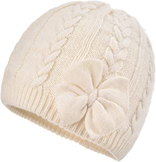 Baby Girls Warm Beanie Cap - Infant Toddler Winter Knitted Bow Hat with Cotton Lining
