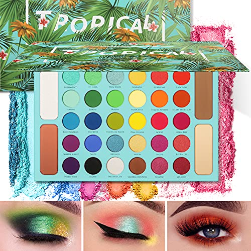 Docolor Eyeshadow Palette, Shimmer Matte 34 Colors Eye Shadow Highly Pigmented Natural Warm Glitter Contour & Highlight Powder Professional Long Lasting Waterproof Tropical Makeup Palette