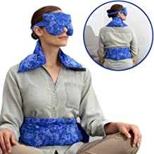 Hot Pockets Set of 3 Rice Heating pad microwavable - Includes Heating pad for Neck and Shoulders + Heating Pads for Back Pain + Lavender Eye Pillow for Stress Relief (Blue Flowers)