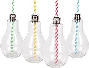 Alsino Partyglas Longdrinkgläser Cocktailglas mit Gestreiftem Strohhalm & Deckel als Glühbirne ,15 cm hoch ,Füllmenge 250 ml, Party-Accessoire für Shakes, Smoothies, Kaltgetränke 78/7834