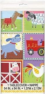 Unique Party 72453 - Farm Party Plastic Tablecloth, 7ft x 4.5ft