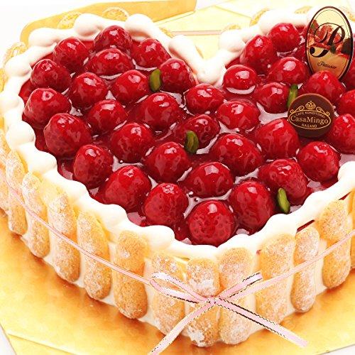 洋菓子店カサミンゴー 最高級洋菓子 特注ハート型シュス木苺レアチーズケーキ (20cm)  必ず日時指定便をお選びください。