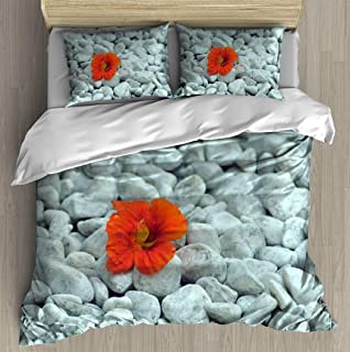 Soft Printed Bedding Set orange flower on the white gravels flower seamlesss and pictures Duvet Cover Pillow Case Pattern ...