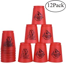 Bestie-Gear Quick Stacks Cups, Sports Stacking Cups Speed Training Set of 12 with Carry Bag (Red)