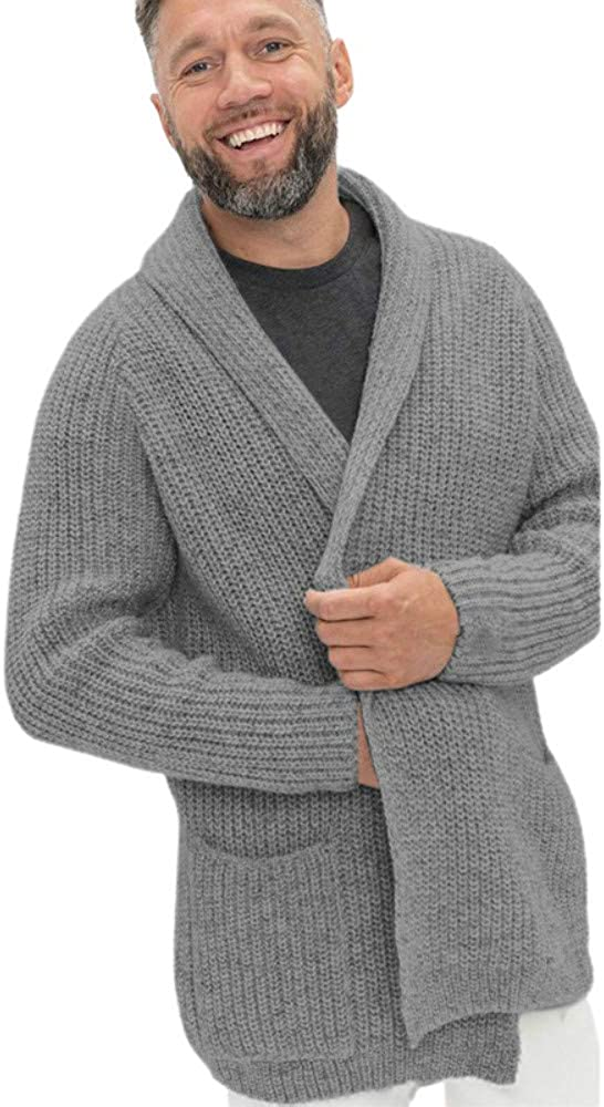 Aoysky Mens Shawl Collar Cardigan Sweater Casual Long Sleeve Cotton Open Front Knit Sweater with Pockets at  Men's Clothing store