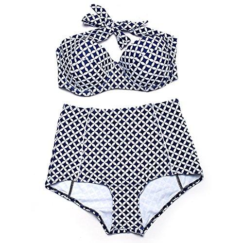 weifengjiaju Retro Stampato a Vita Alta Bikini in Acciaio Piatto Raccolto Costume da Bagno Donna Divisa Spa Costume da Bagno di Grandi Dimensioni Bianco Stampa 3XL