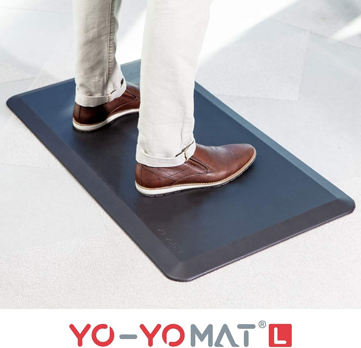 "Yo-Yo MAT - Standing Desk Anti-Fatigue Mat (BLACK).""Perfect for any Standing Desk, work stations, Height Adjustable Desk or Kitchen"" (BLACK, 36 x20 )"