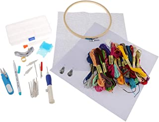 F Fityle Embroidery Starter Kits with Punch Needles Pen Hoop Thimble Shear Fabric etc