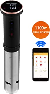 Sous Vide Cooker, REMACUSUS Sous Vide Machine | WIFI |1100W | App, Processional Immersion Cooker with Precise Temperature/Timer Control, Ultra-Quiet, FDA Approved (black) (Black)
