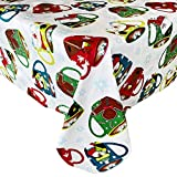 """Newbridge Hot Cocoa Winter Holiday Flannel Back Vinyl Christmas Tablecloth - Fun and Whimsical Winter, and Snowman Print Wipe Clean Easy Care Tablecloth, 60"""" x 102"""" Oblong/Rectangle"""