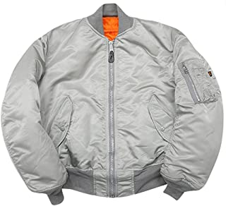 Made in USA MA-1 Alpha Air Force AF Flight Military Bomber Jacket Silver