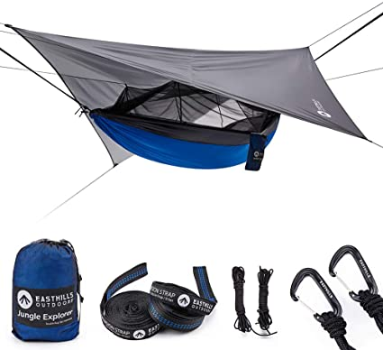 """Easthills Outdoors Jungle Explorer 118"""" x 79"""" Double Camping Hammock Lightweight Ripstop Parachute Nylon 2 Person Hammocks with Removable Bug Net, Tree Straps and Tarp Blue"""