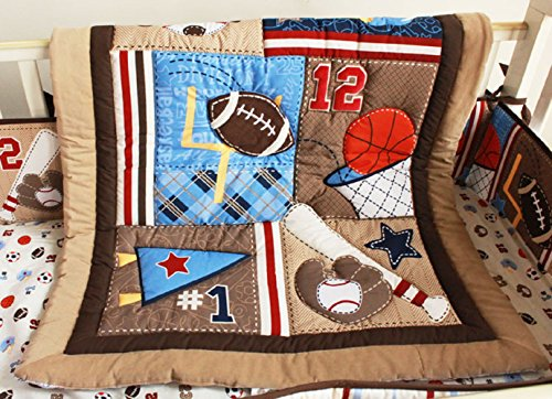 Brown Sports Theme Nursery Crib Bedding Set 4 PCs Baby Boy Bedding Set Baby Gift Idea (Brown)