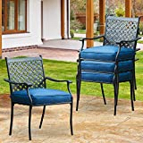 PatioFestival Patio Dining Chairs Stackable Outdoor Chairs Dining Furniture Set of 4,All Weather Frame with Thick Cushion for Porch,Yard,Balcony,Kitchen