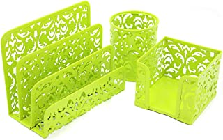 Office Desk Tidy Organiser Set, Pack Of 3 (Green)