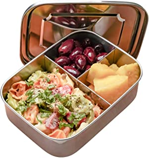 RiViLife Stainless Steel Bento Box for Kids and Adults PLUS Spoon - BPA-Free Eco-Friendly & Healthy - 3 Section Metal Lunch Containers with Dividers fits 1 Main + 2 Snacks - Bento Lunch Box